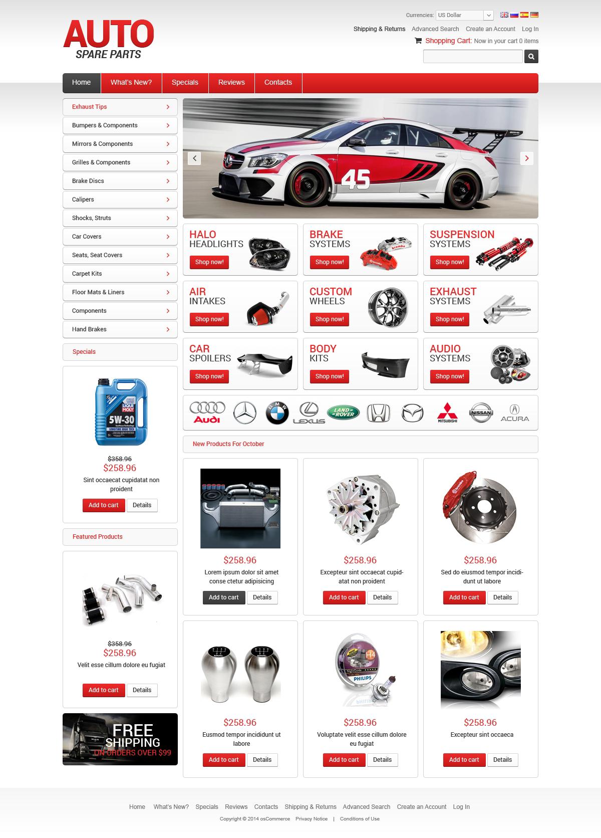 Modèle OsCommerce pour site de pièces automobiles #50671 - screenshot