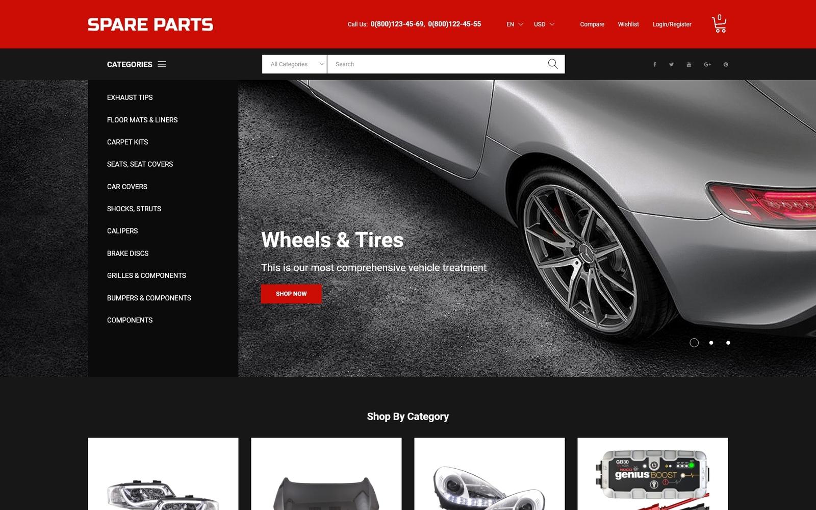 """""""Motor Spare Parts Online Store"""" 响应式PrestaShop模板 #50616"""