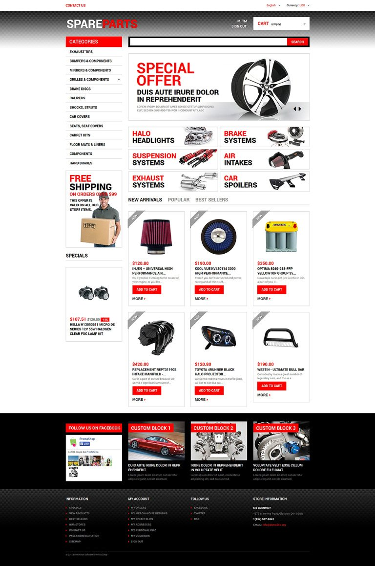 Motor Spares PrestaShop Theme New Screenshots BIG