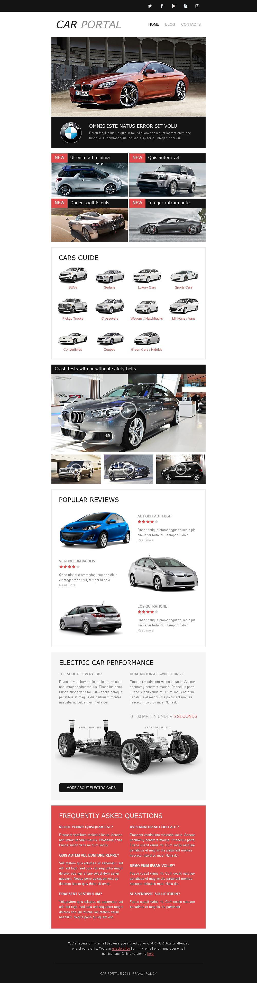 Plantilla De Boletín De Noticias Responsive para Sitio de Clubes de coches #50679