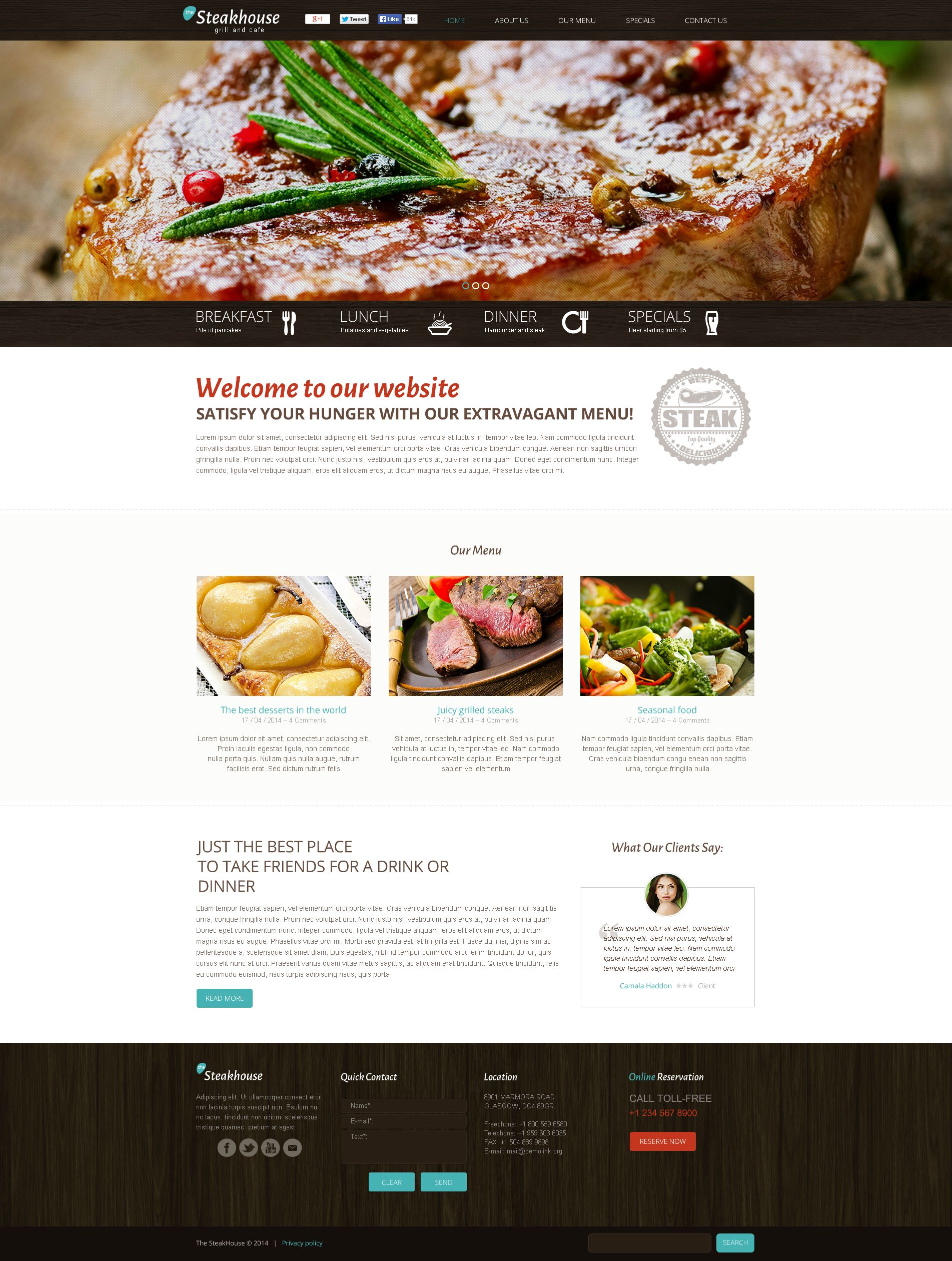 Premium Flash CMS Template over Steakhouse №50660 - screenshot