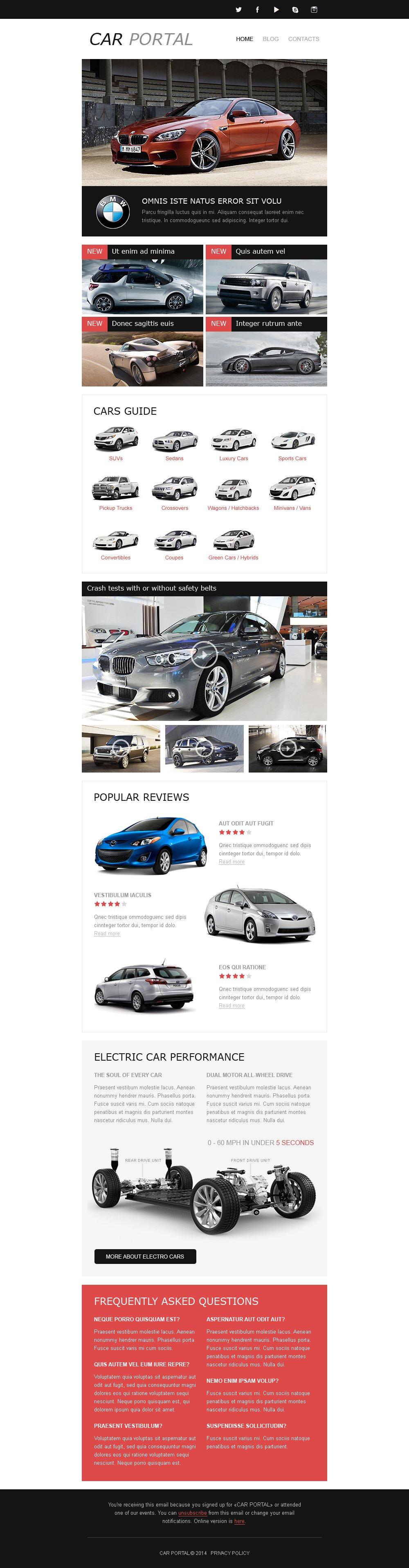 Responsive Newsletter Vorlage für Automobilclub #50679