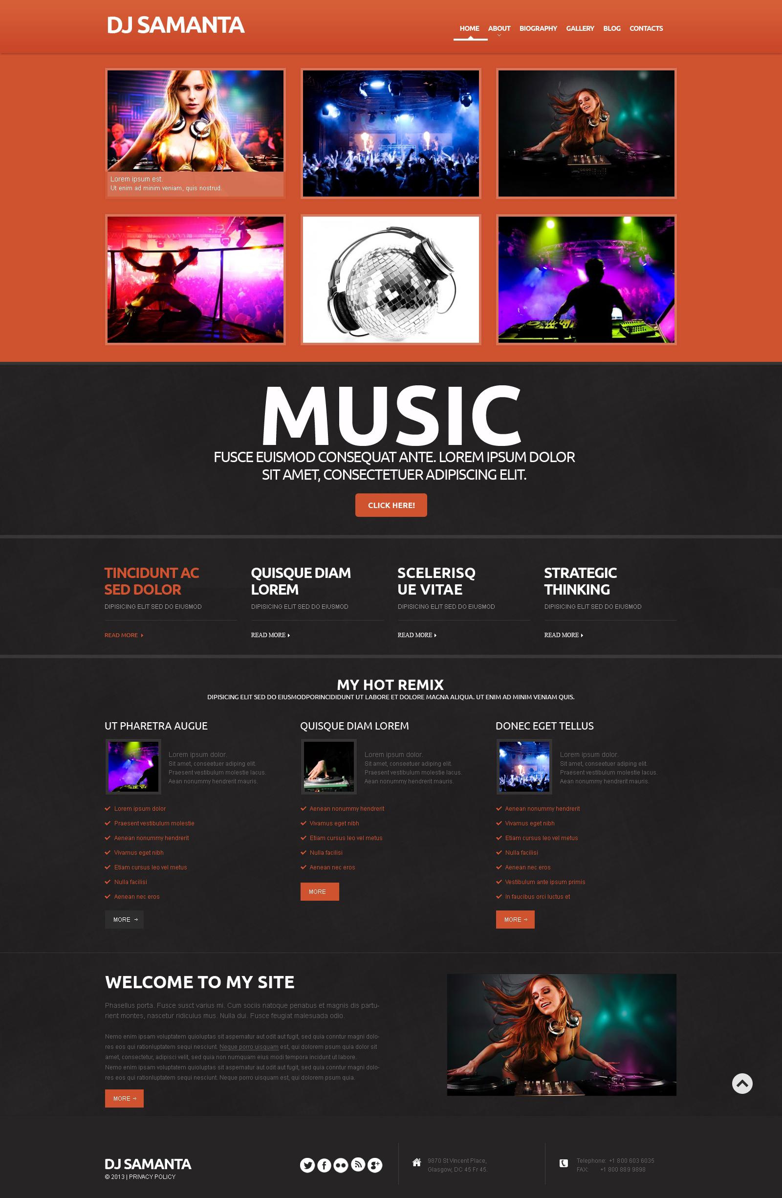 Responsive WordPress thema over Muziek №50607 - screenshot