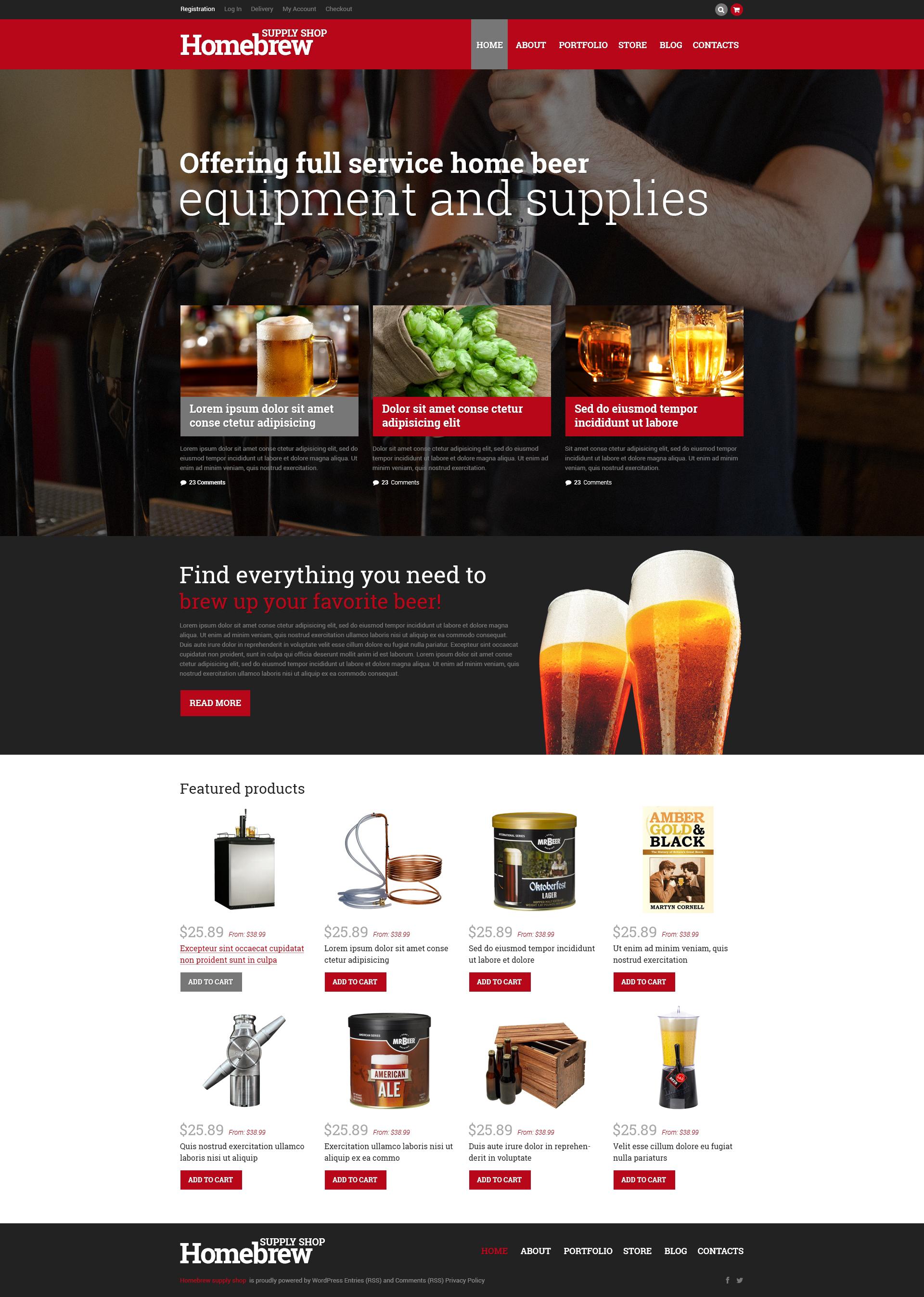 Responsywny motyw WooCommerce Homebrew Merchandise Store #50667