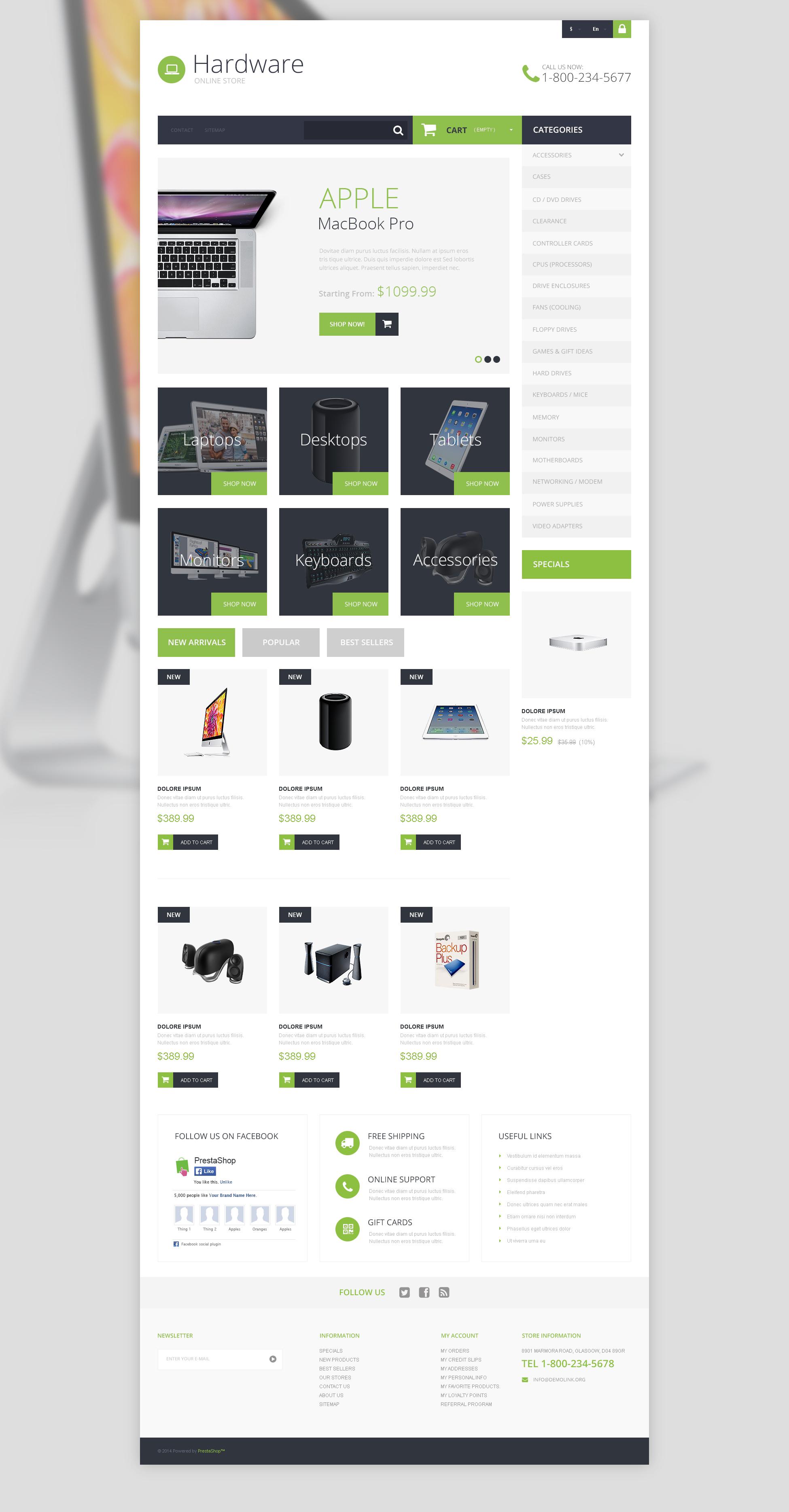 Responsywny szablon PrestaShop Hardware Provider Company #50699