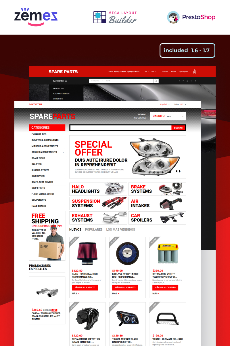 "Responzivní PrestaShop motiv ""Motor Spare Parts Online Store"" #50616"