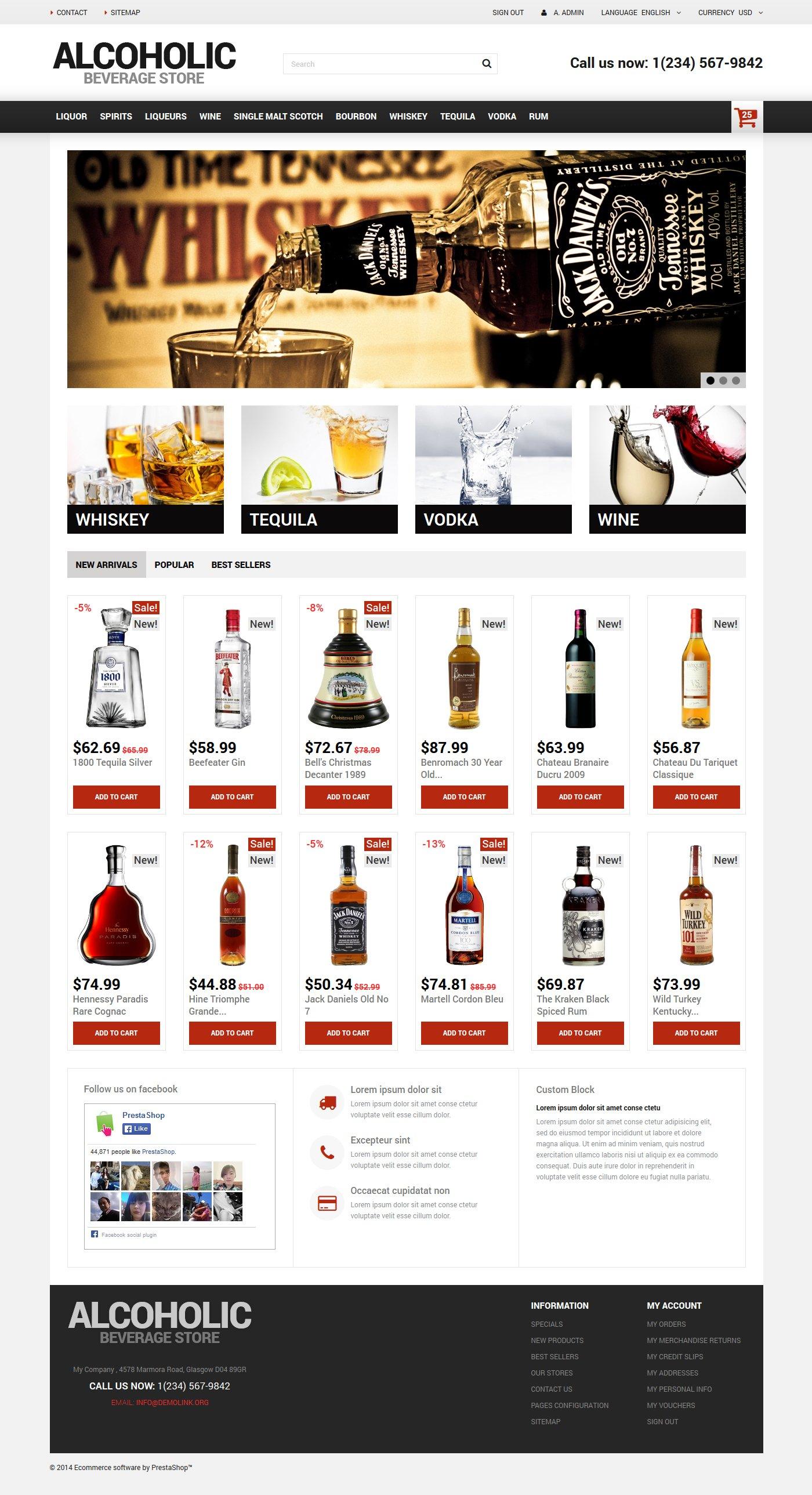 Reszponzív Alcoholic Beverage Store PrestaShop sablon 50670