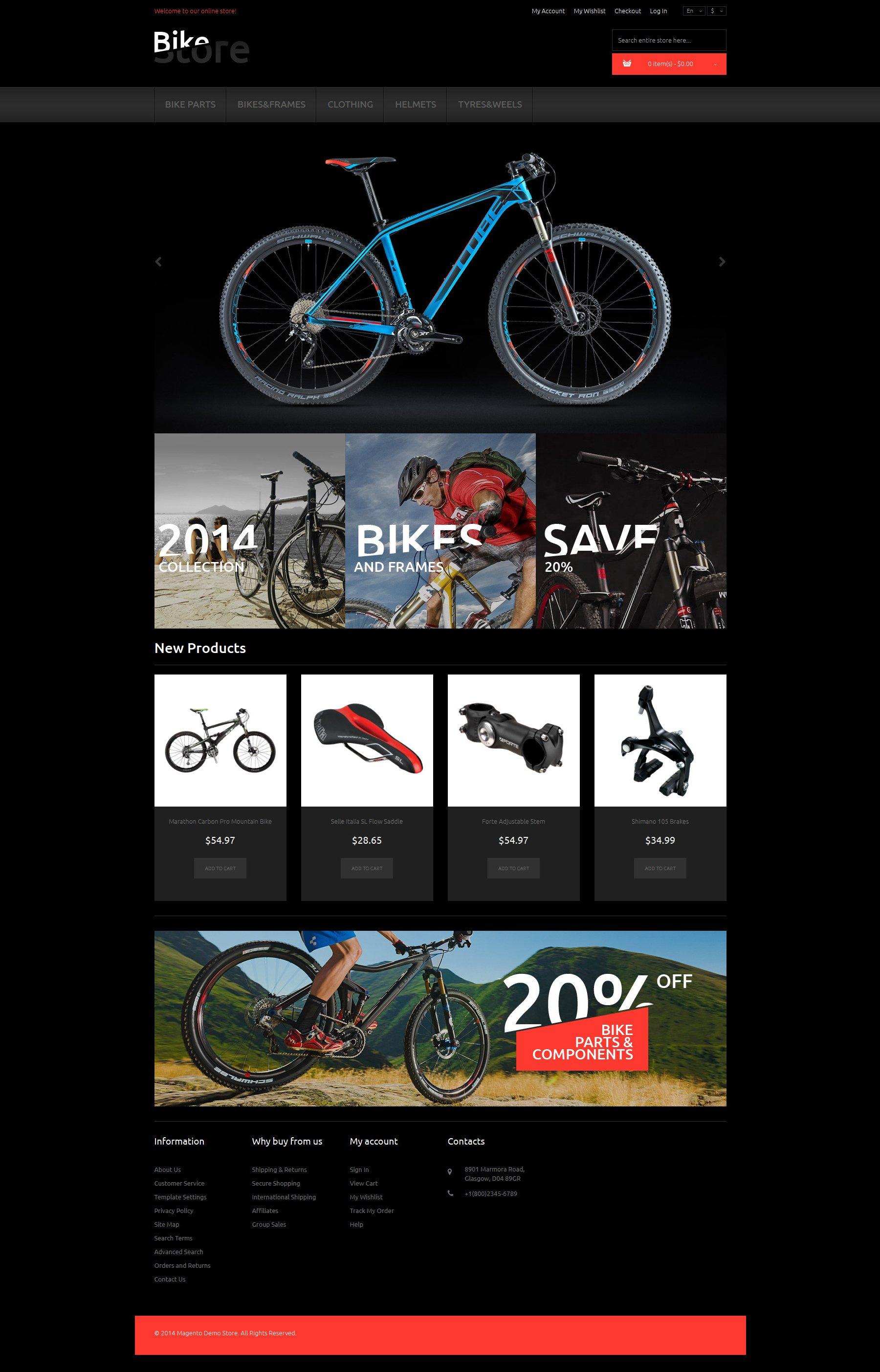 Reszponzív Bikes and Supplies Magento sablon 50630 - képernyőkép