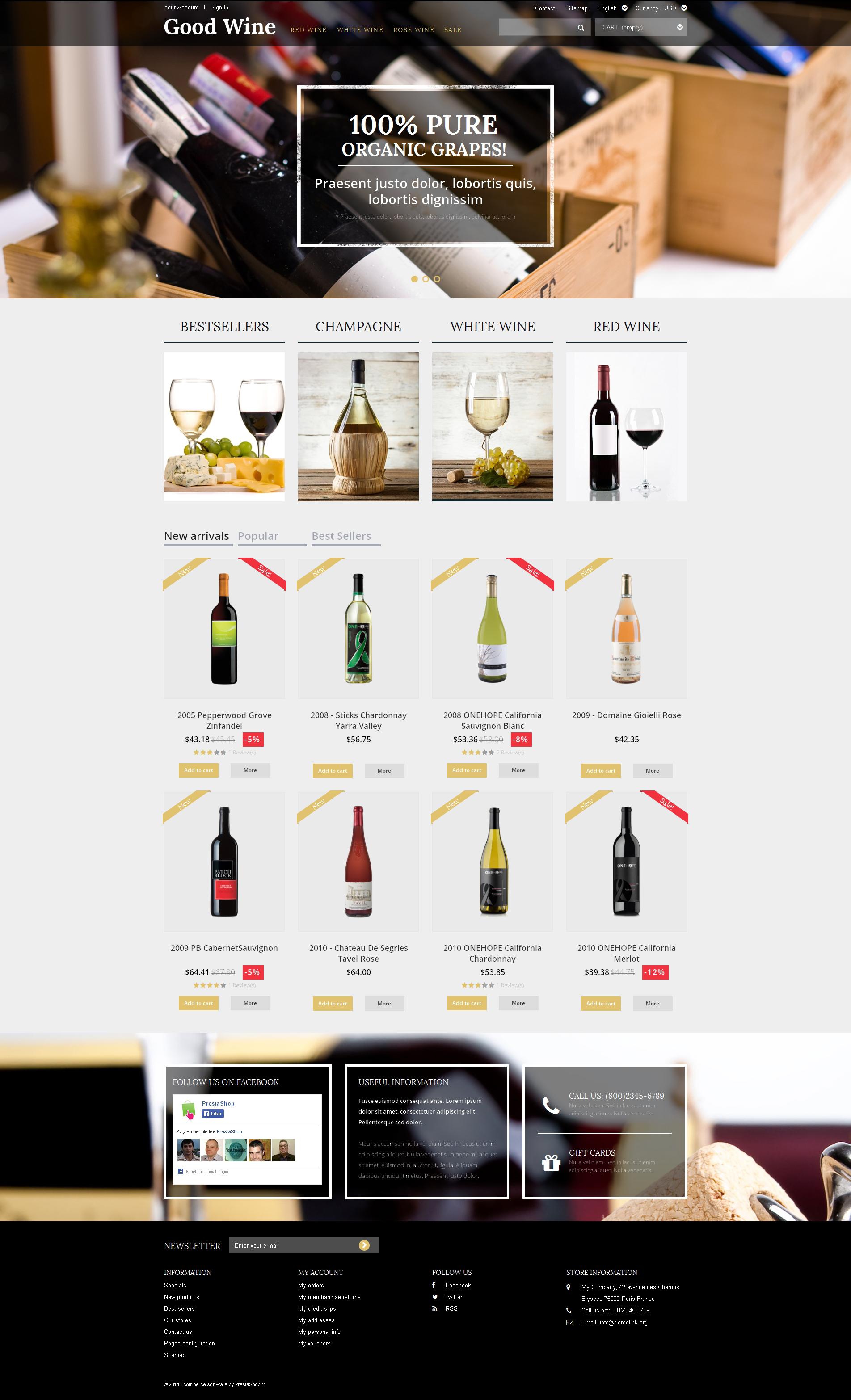 Reszponzív Wine of Superior Quality PrestaShop sablon 50698