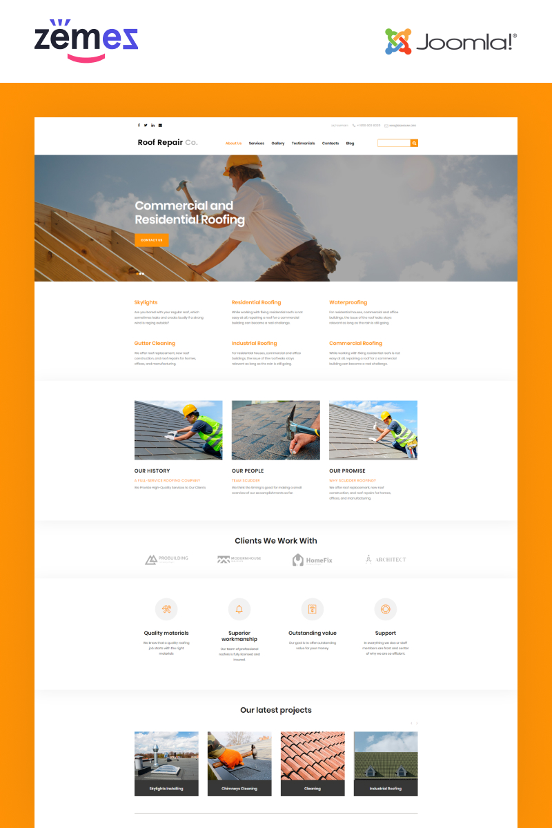 """Roof Repair Services"" 响应式Joomla模板 #50683"