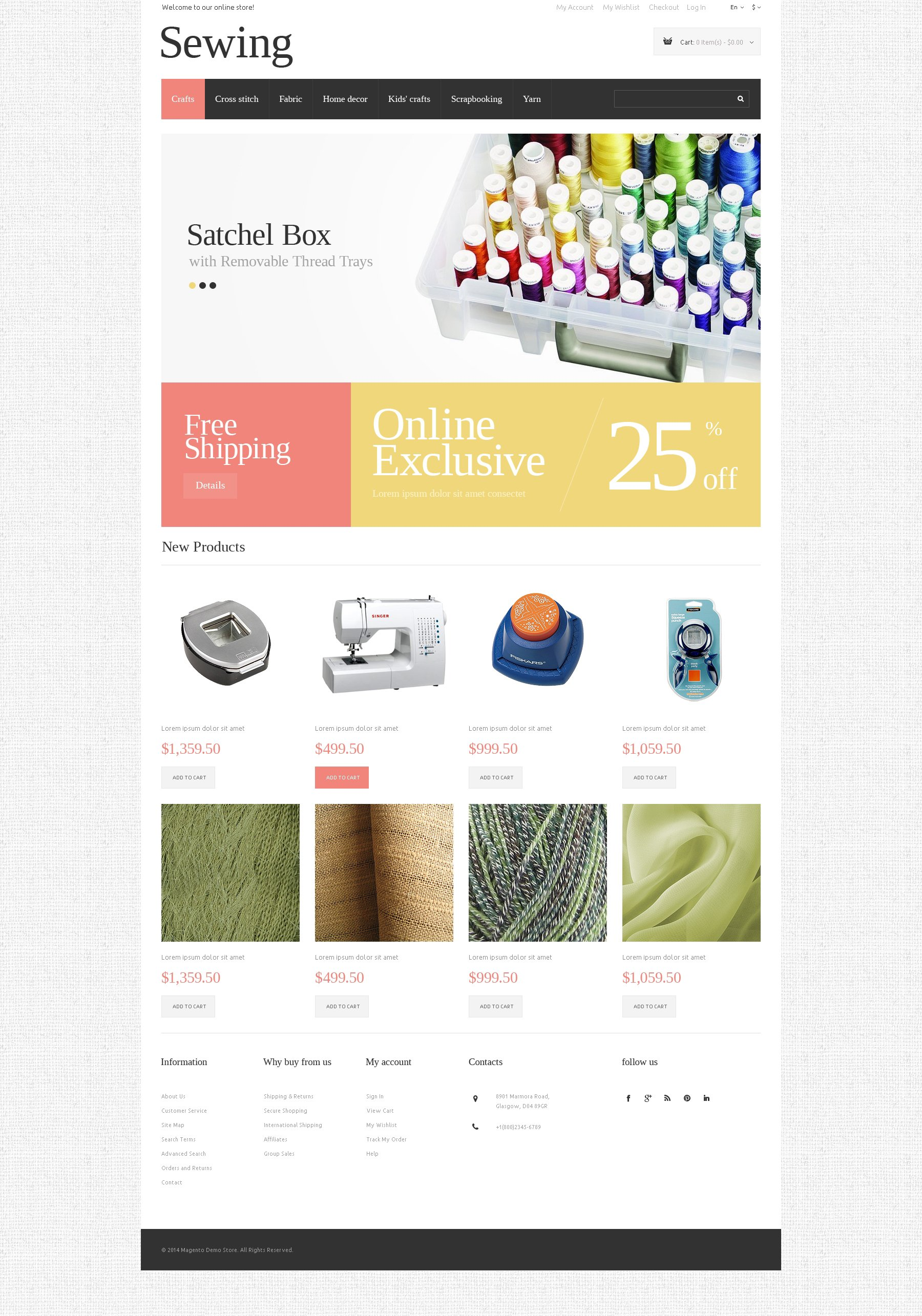 """""""Sewing Opportunities"""" Responsive Magento Thema №50631"""