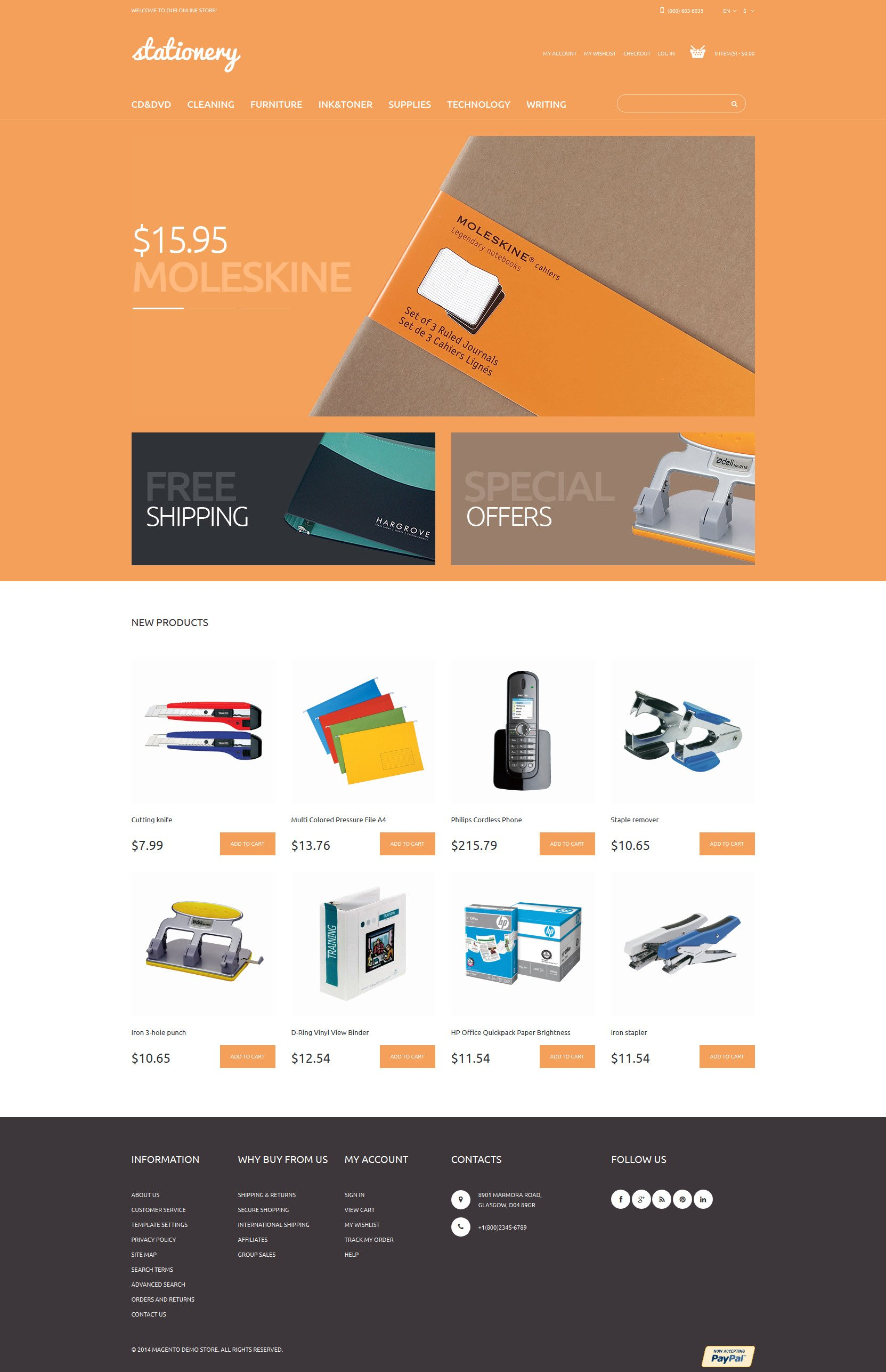 Stationery Store Magento Theme - screenshot