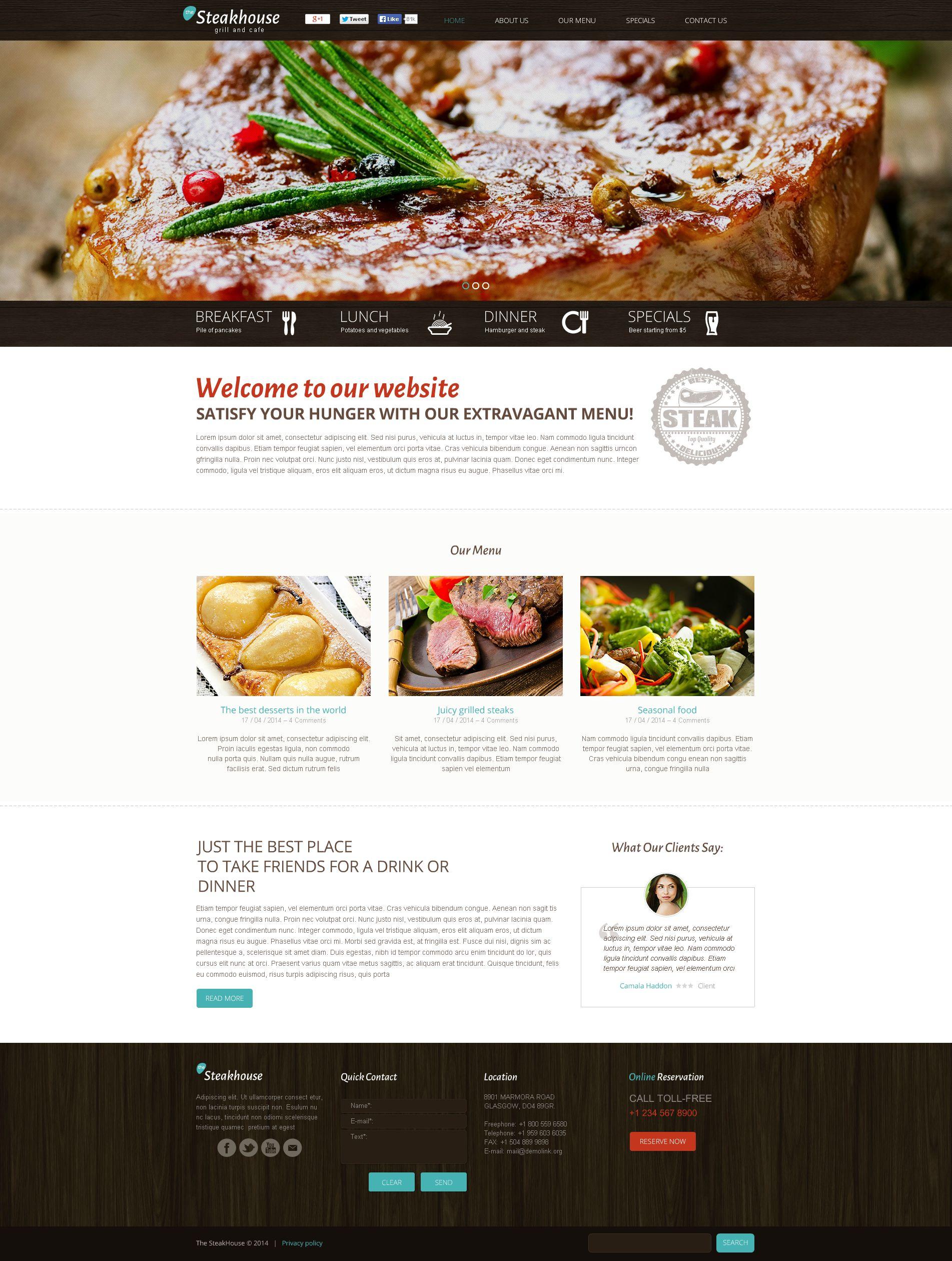 Szablon Flash CMS #50660 na temat: restauracja amerykańska - zrzut ekranu