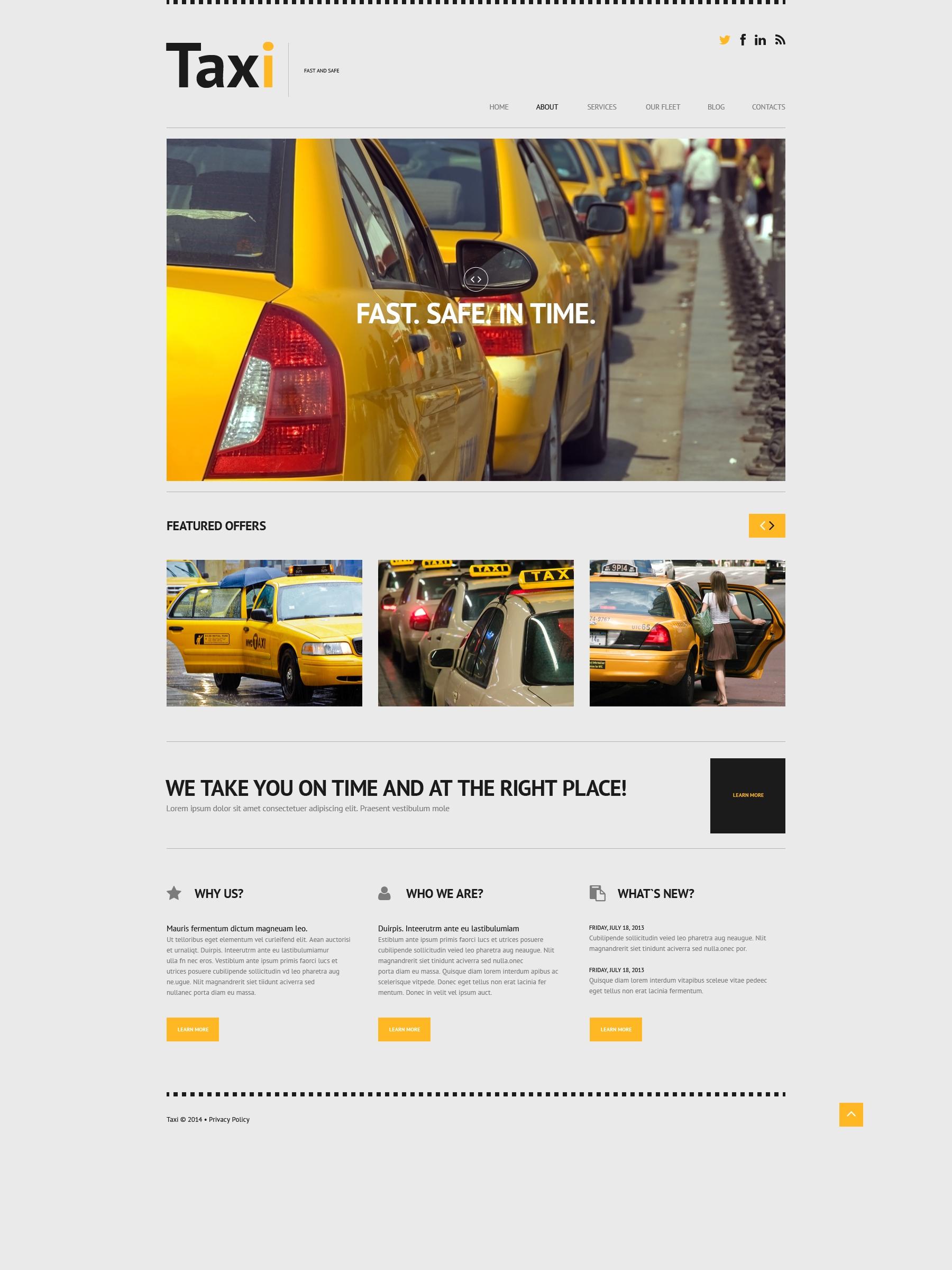 Tema De WordPress Responsive para Sitio de Taxi #50615