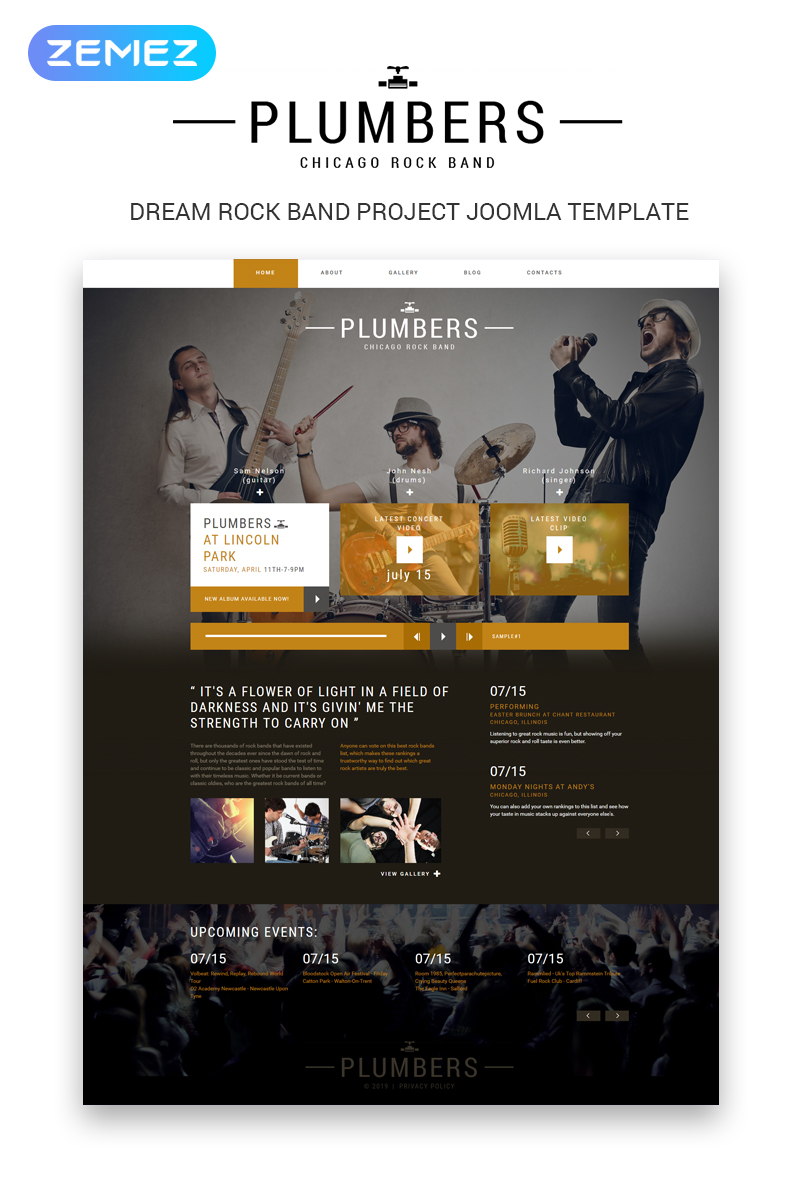 "Tema Joomla Bootstrap #50601 ""Plumbers - Music Band Creative"""