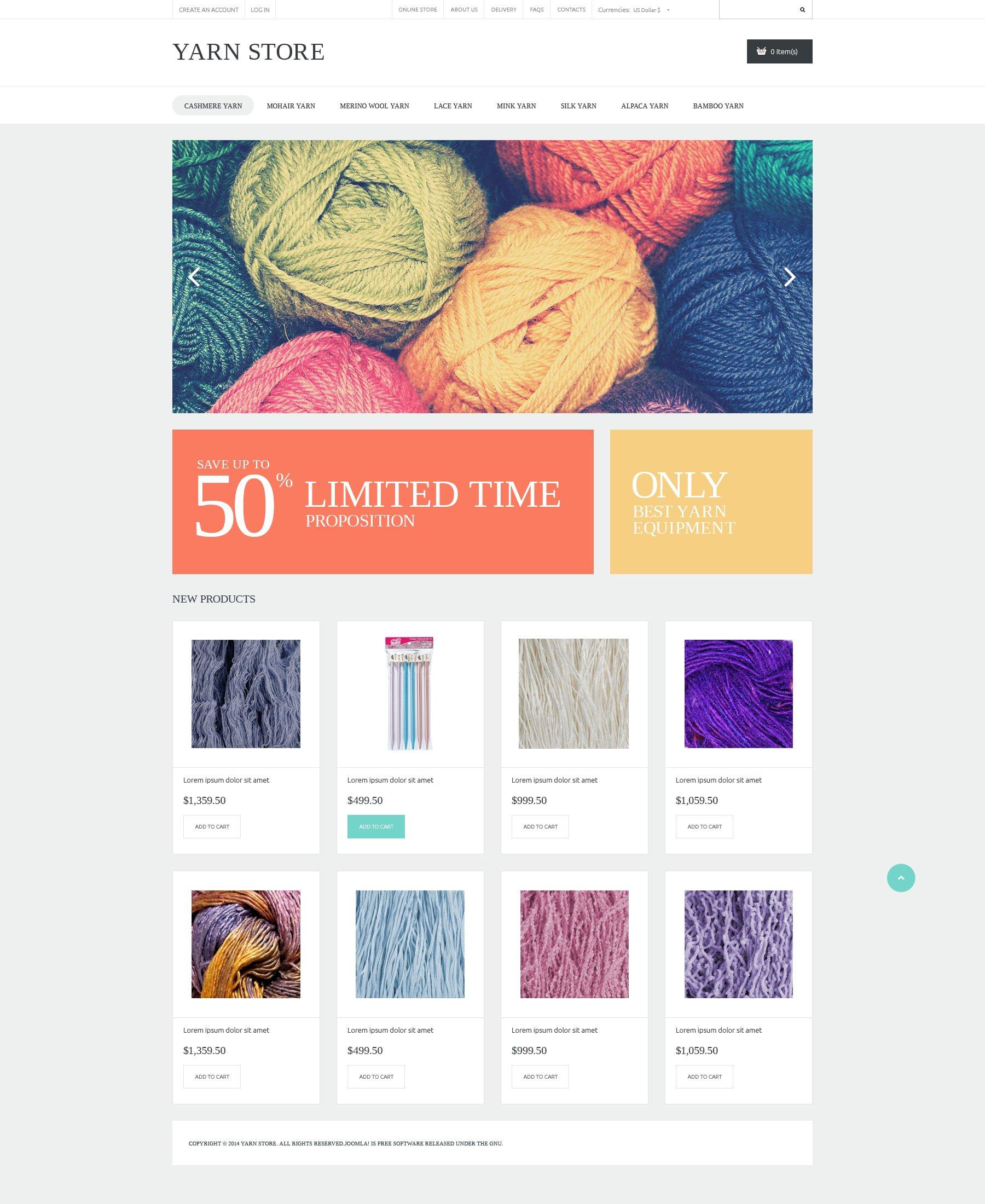"""Tema VirtueMart #50694 """"Handiwork Yarn"""" - screenshot"""
