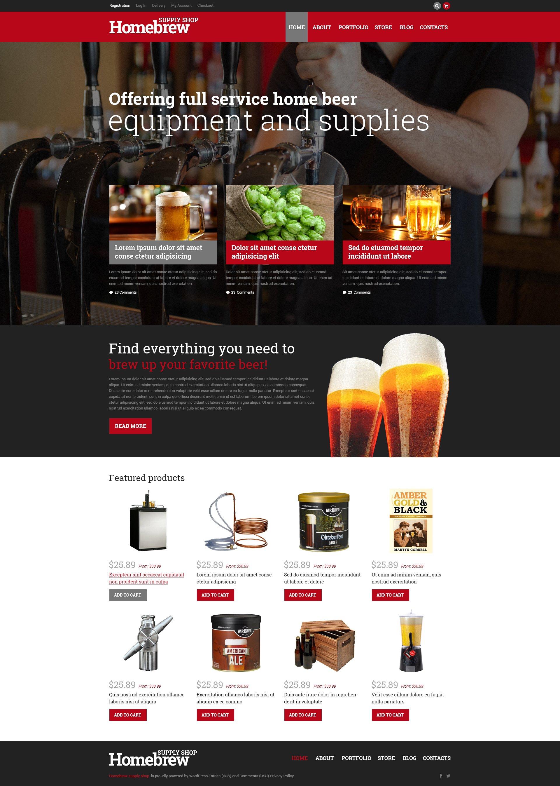 "Tema WooCommerce Responsive #50667 ""Homebrew Merchandise Store"""