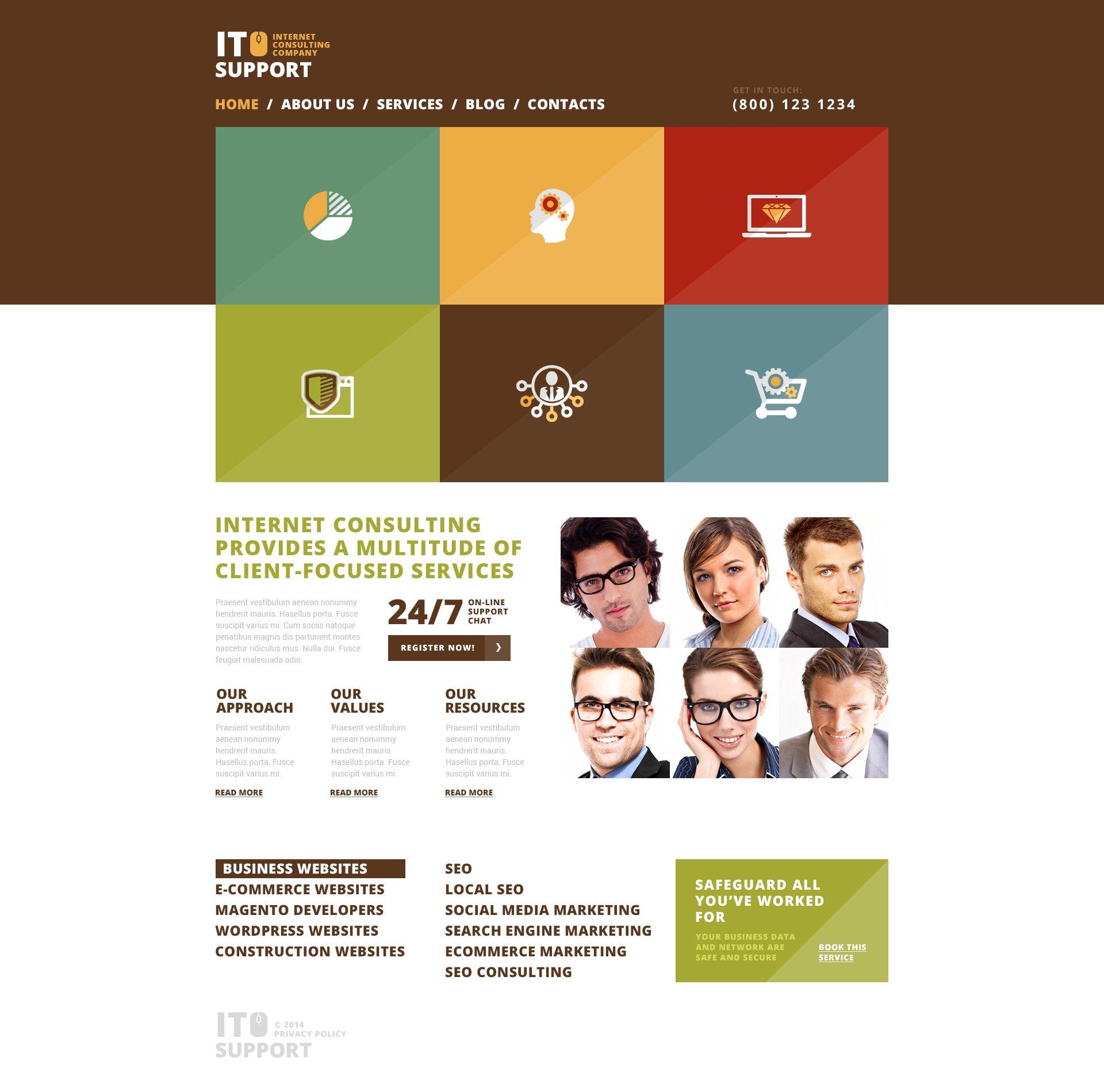 """Trustworthy IT Company"" 响应式WordPress模板 #50666"