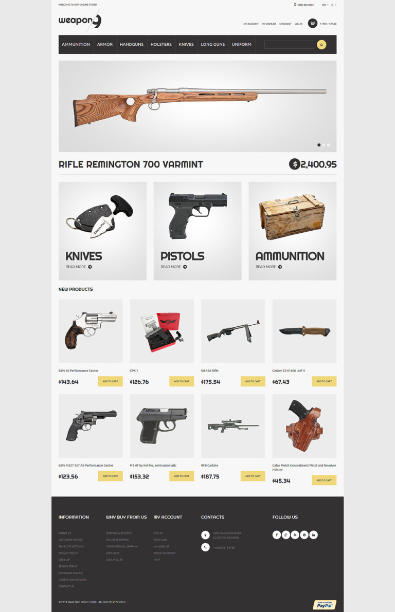 Weapons for Proper Security Magento Theme New Screenshots BIG