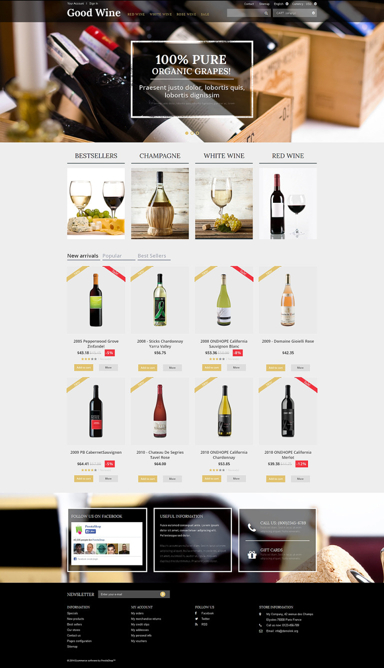 Wine of Superior Quality PrestaShop Theme New Screenshots BIG