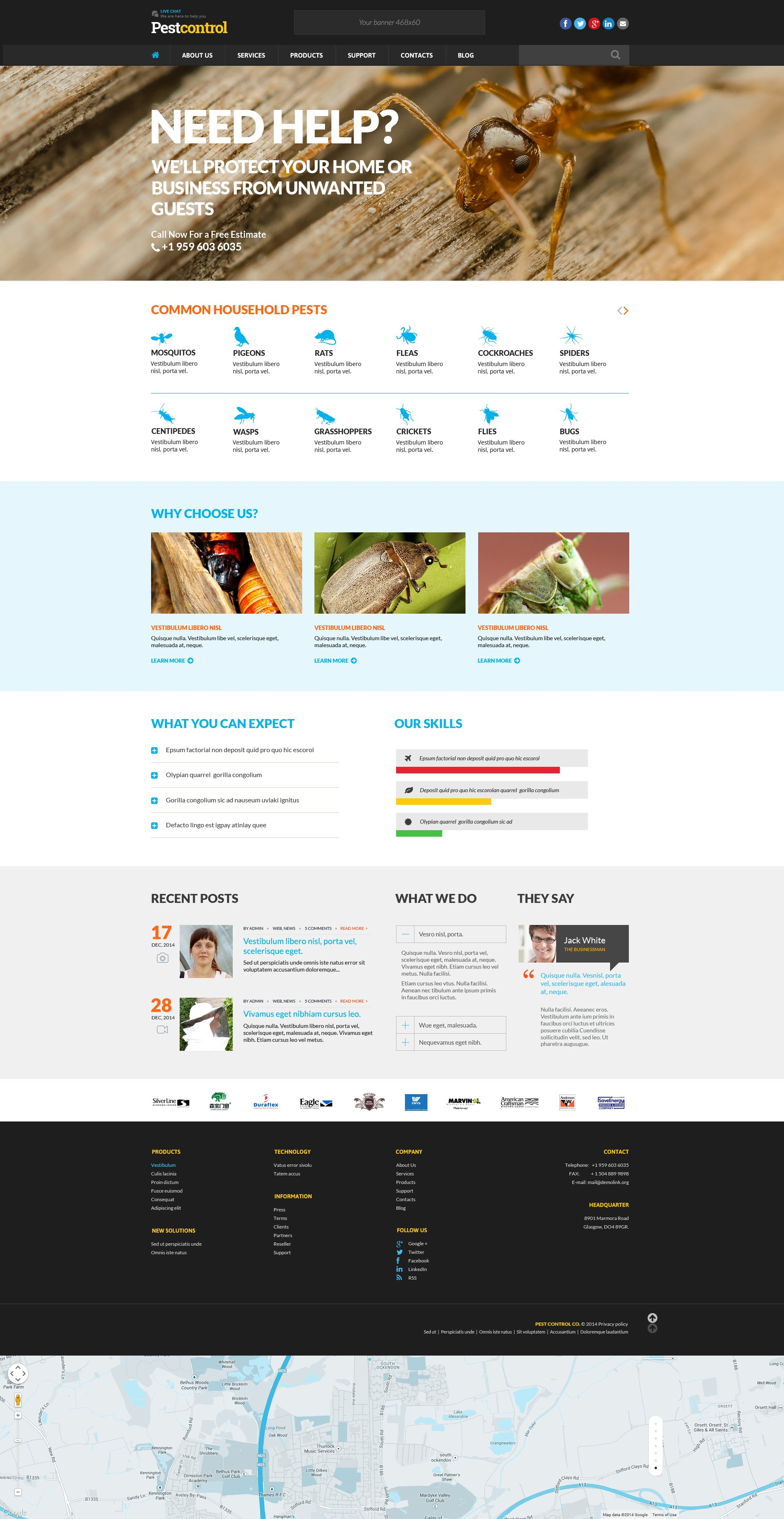 The Pest Control Responsive Javascript Animated Design 50731 One Of Best Website Templates