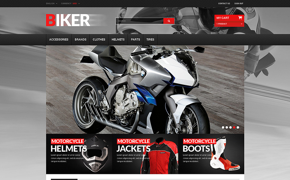 Reszponzív Motoros klub PrestaShop sablon New Screenshots BIG
