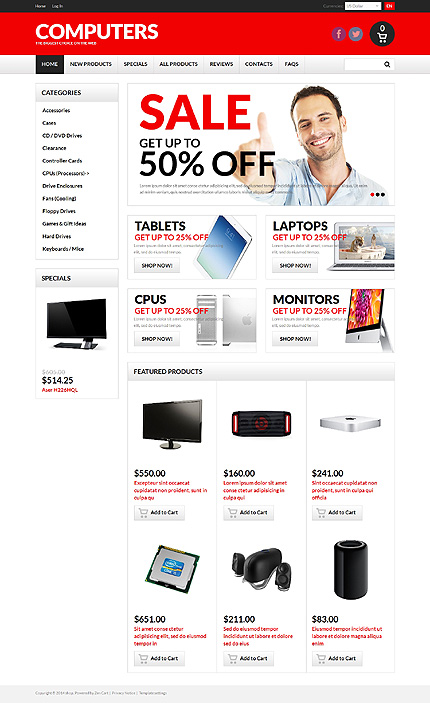 ZenCart Template 50754 Main Page Screenshot