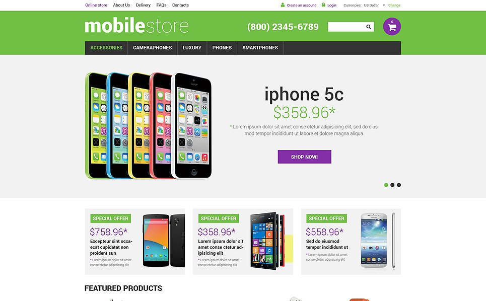 Template VirtueMart para Sites de Loja de Celulares №50766 New Screenshots BIG