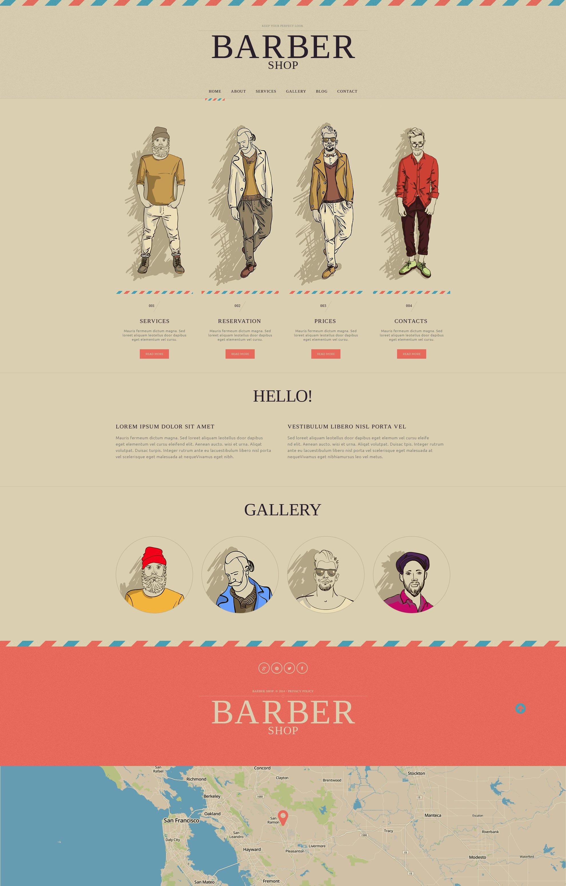 Адаптивный HTML шаблон №50732 на тему парикмахерская