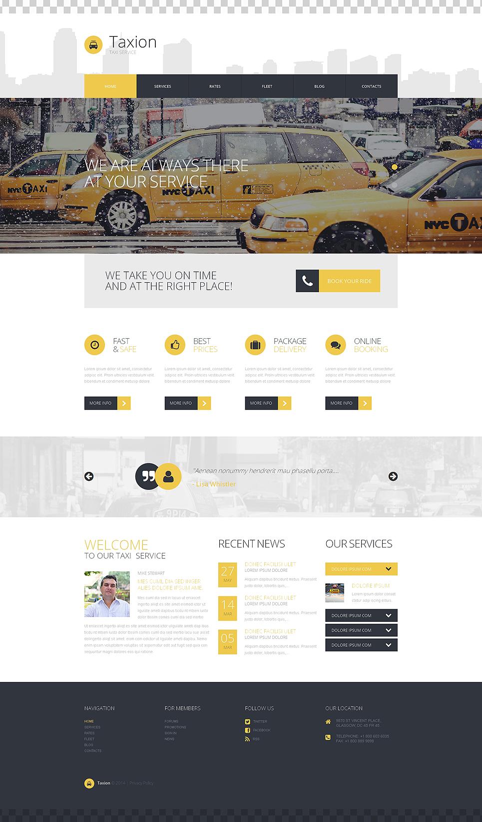 Адаптивный шаблон сайта на тему такси #50723