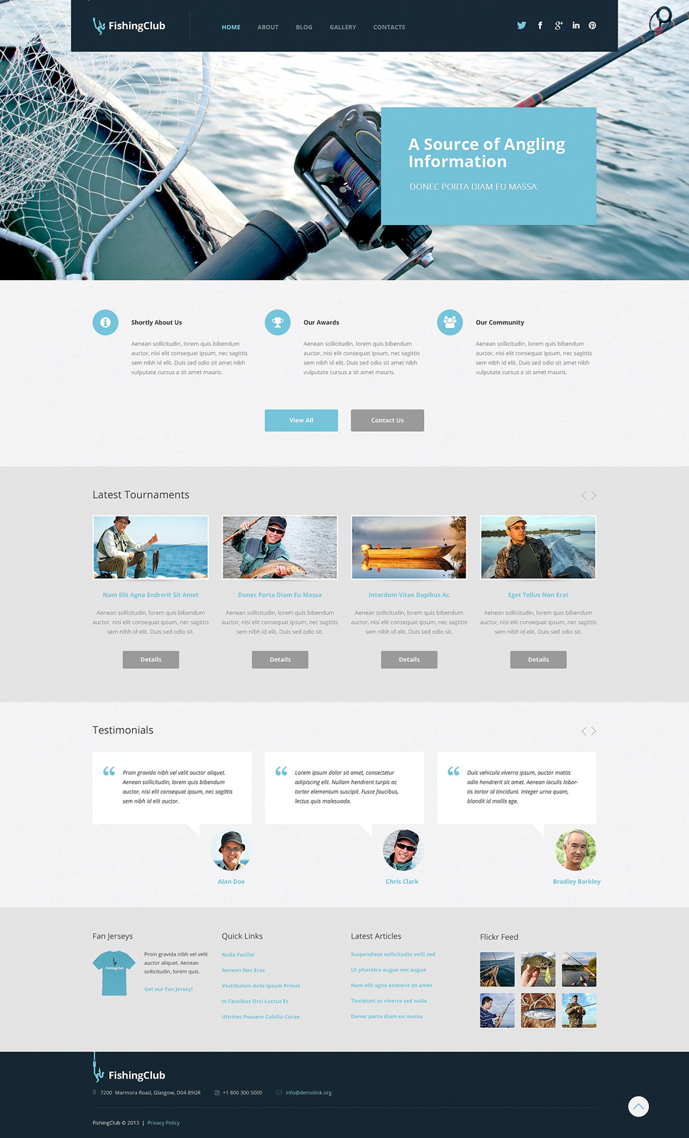 Адаптивный шаблон сайта на тему рыбалка #50743