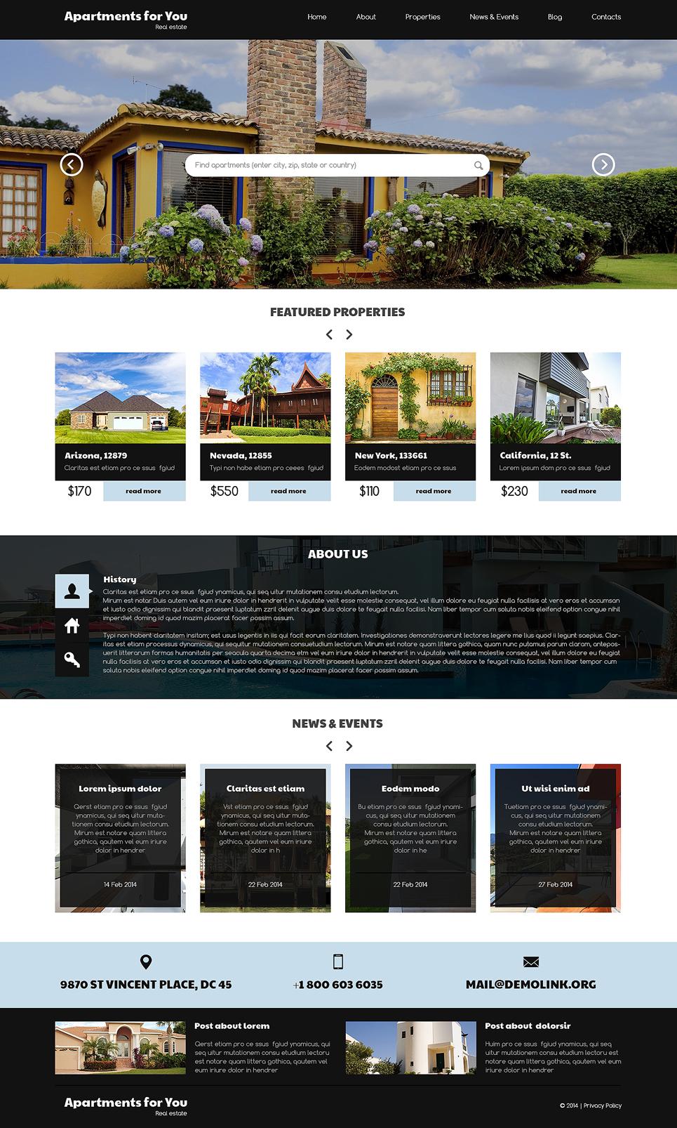 Адаптивный шаблон сайта на тему агентство недвижимости #50761