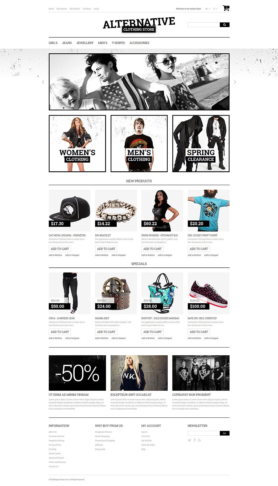 alternative fashion magento theme 50784