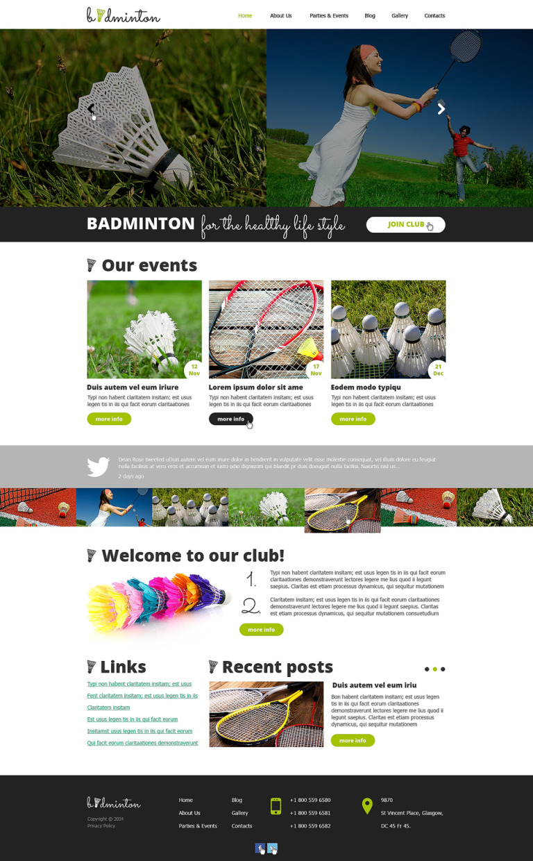 Badminton Responsive Website Template New Screenshots BIG