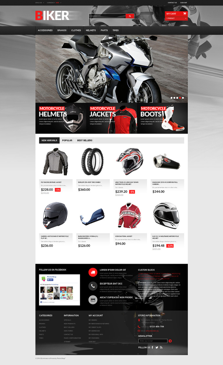 Biker PrestaShop Theme New Screenshots BIG