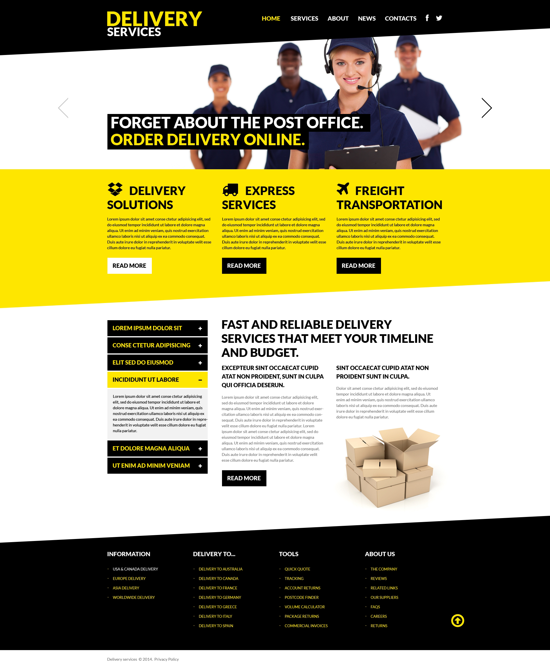 Delivery Services Responsive Website Template #50710