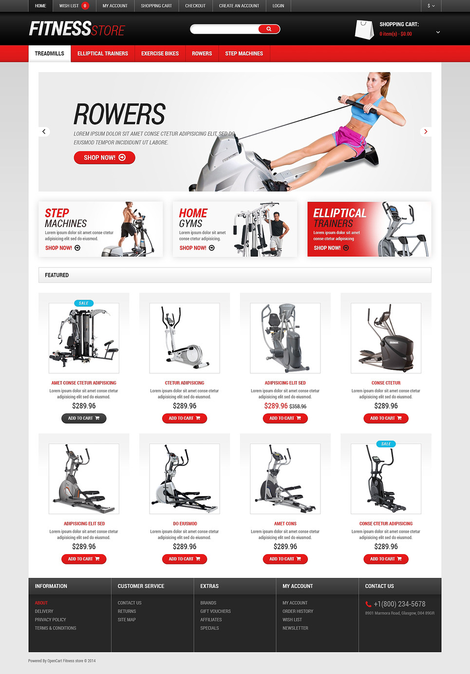 Fitness Responsive OpenCart Template New Screenshots BIG