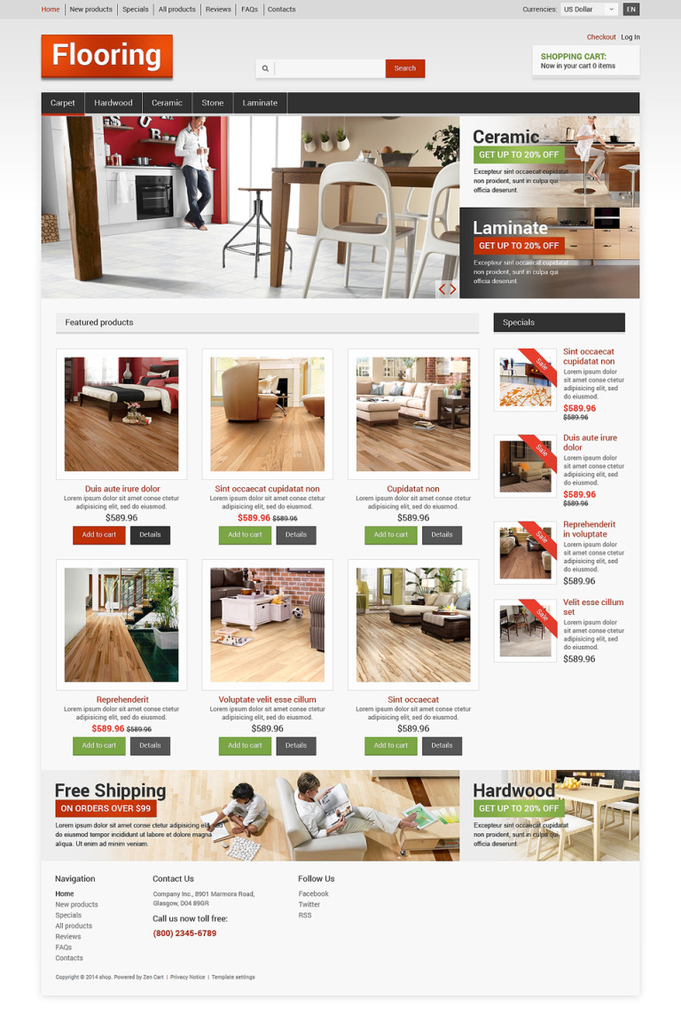 Flooring ZenCart Template New Screenshots BIG