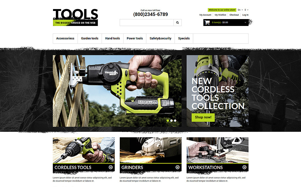 Magento тема инструменты и оборудование №50780 New Screenshots BIG