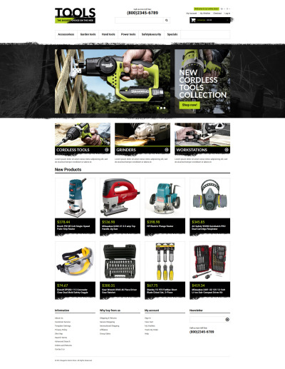 Адаптивный Magento тема №50780 на тему инструменты и оборудование