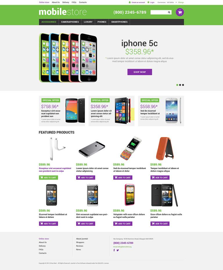 Mobile Store VirtueMart Template New Screenshots BIG