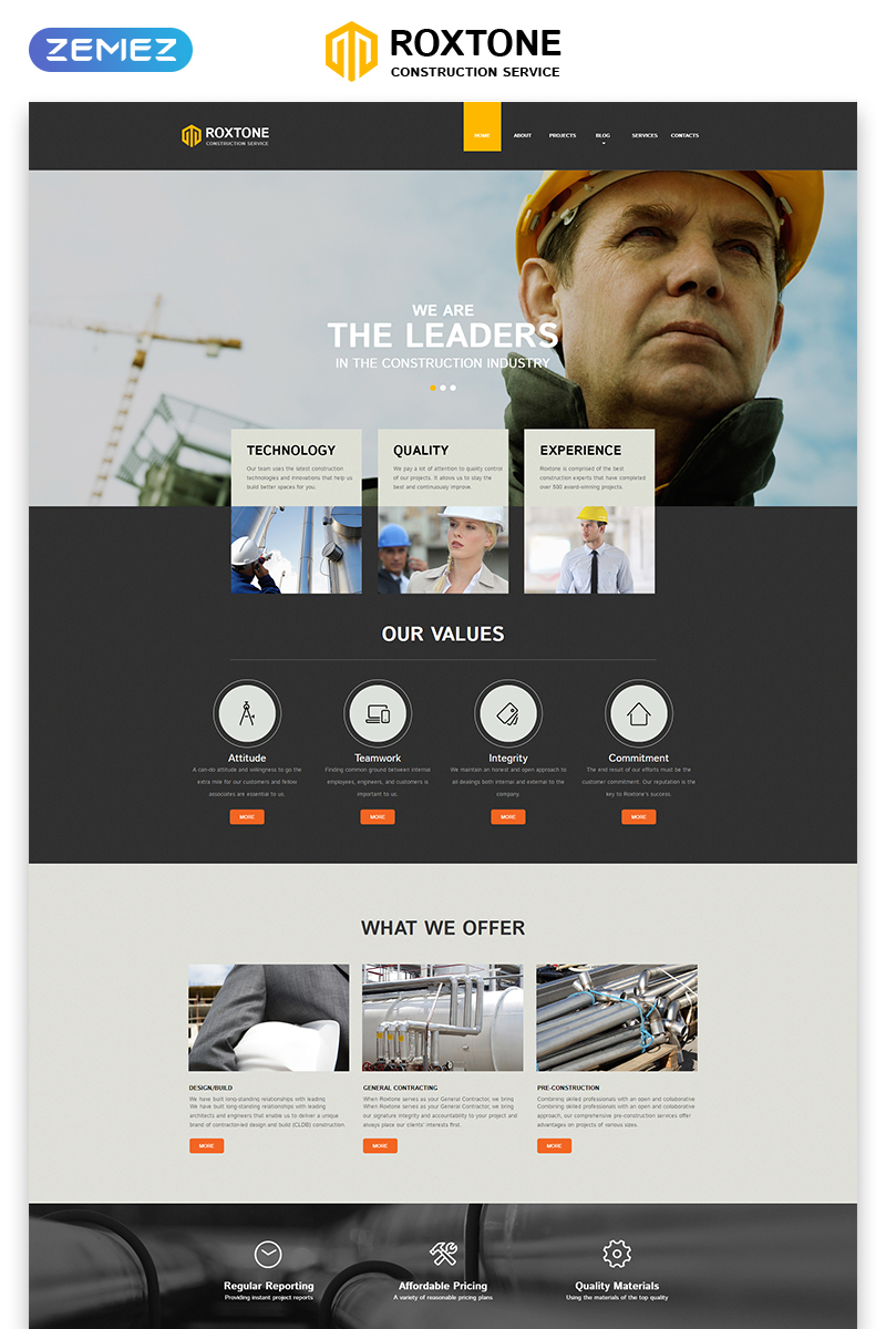 "Modello Siti Web Responsive #50726 ""Roxtone - Construction Company Responsive Creative HTML"""