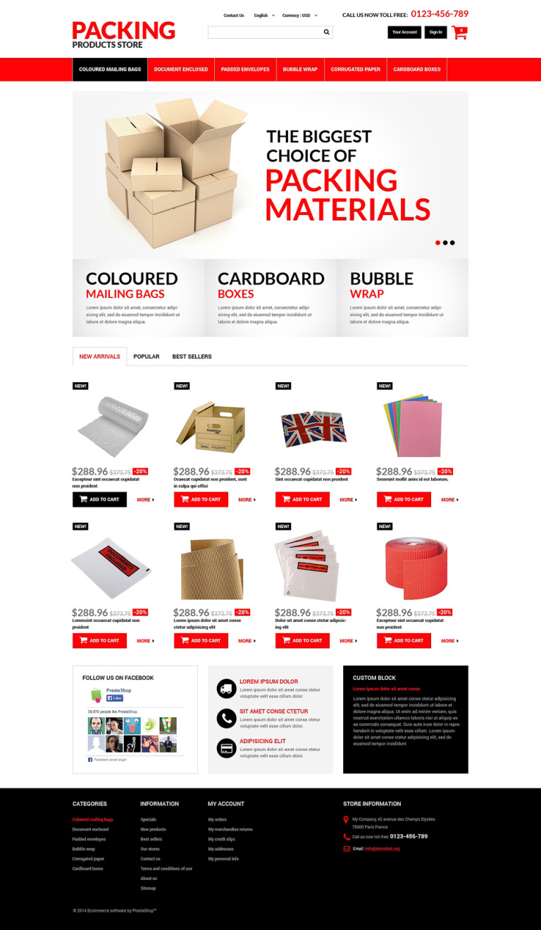 Packing Products PrestaShop Theme New Screenshots BIG