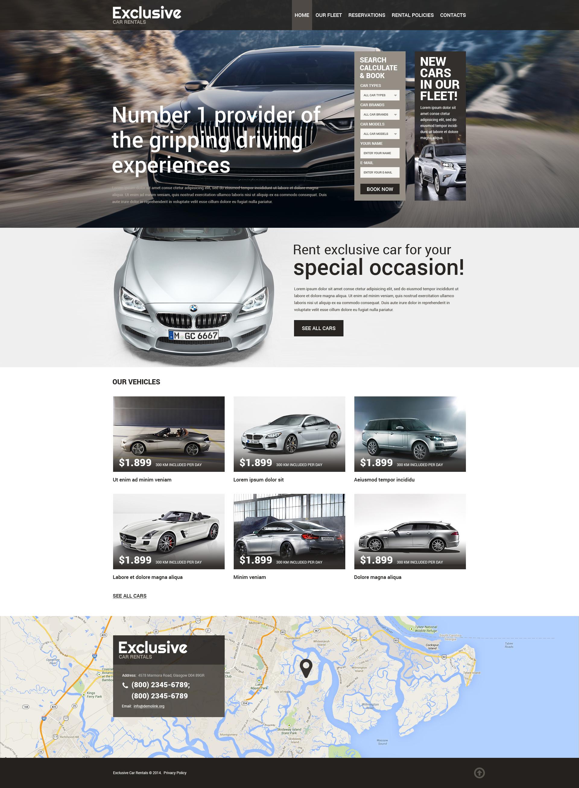 Plantilla Web Responsive para Sitio de Alquiler de coches #50771 - captura de pantalla