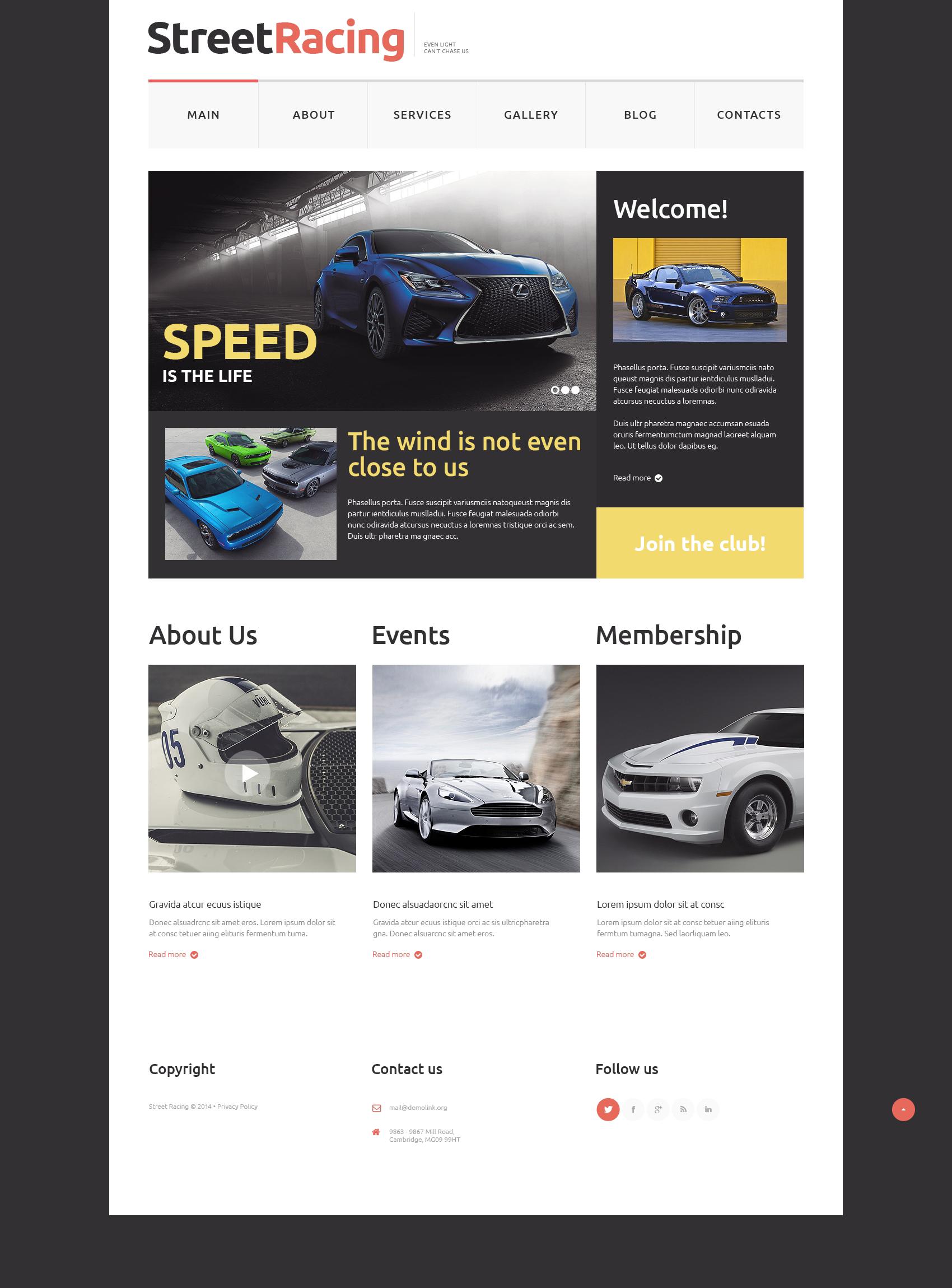 Plantilla Web Responsive para Sitio de Carreras de coches #50728 - captura de pantalla