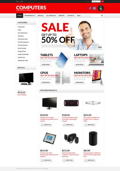 Plantilla ZenCart #50754 para Sitio de  para Tienda de Ordenadores
