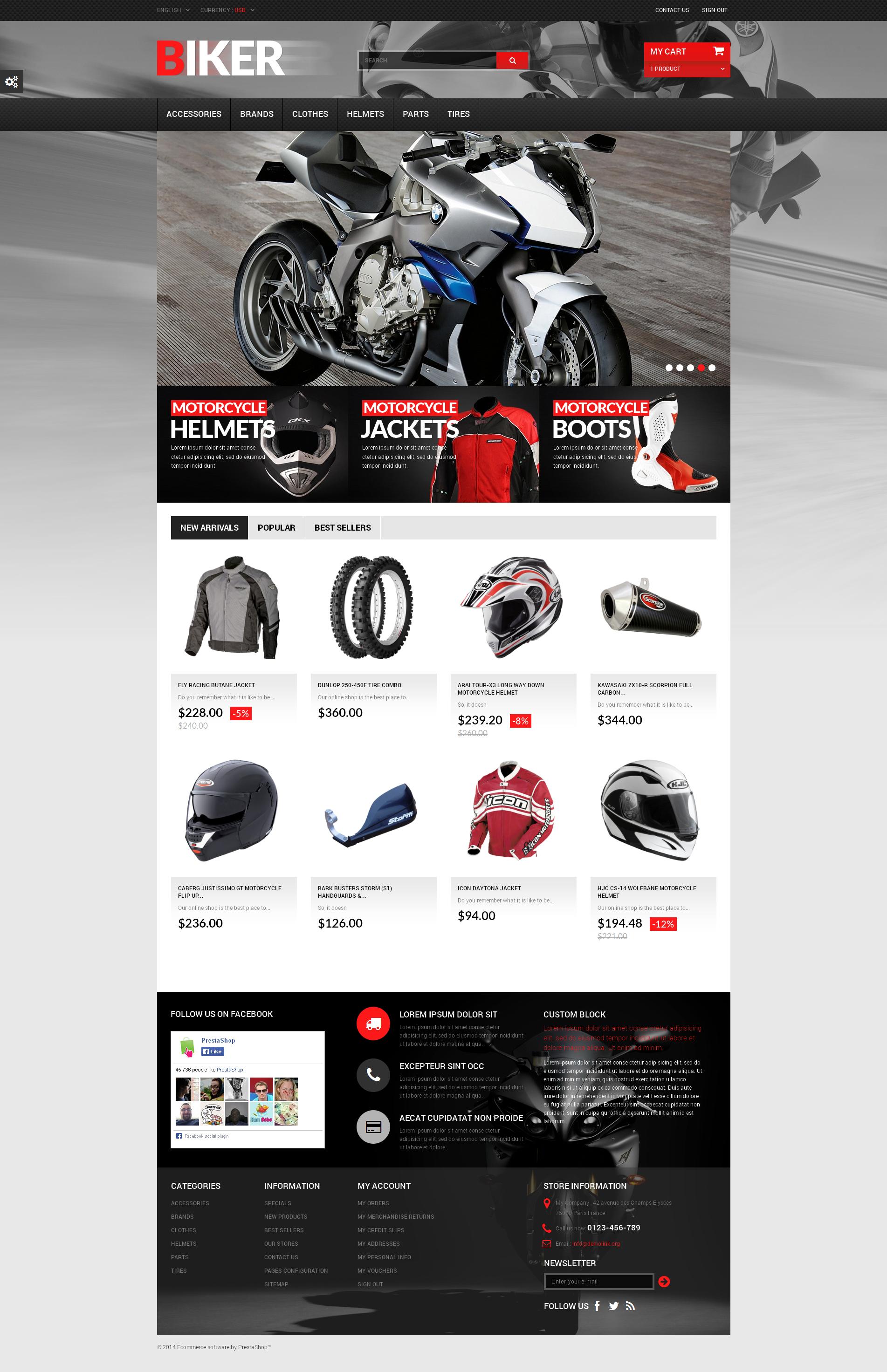 """PrestaShop Theme namens """"Biker"""" #50747"""