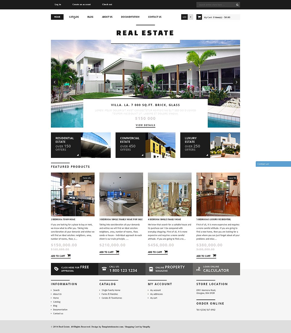 Best House Rental Site: Real Estate Agency Responsive Shopify Theme #50794