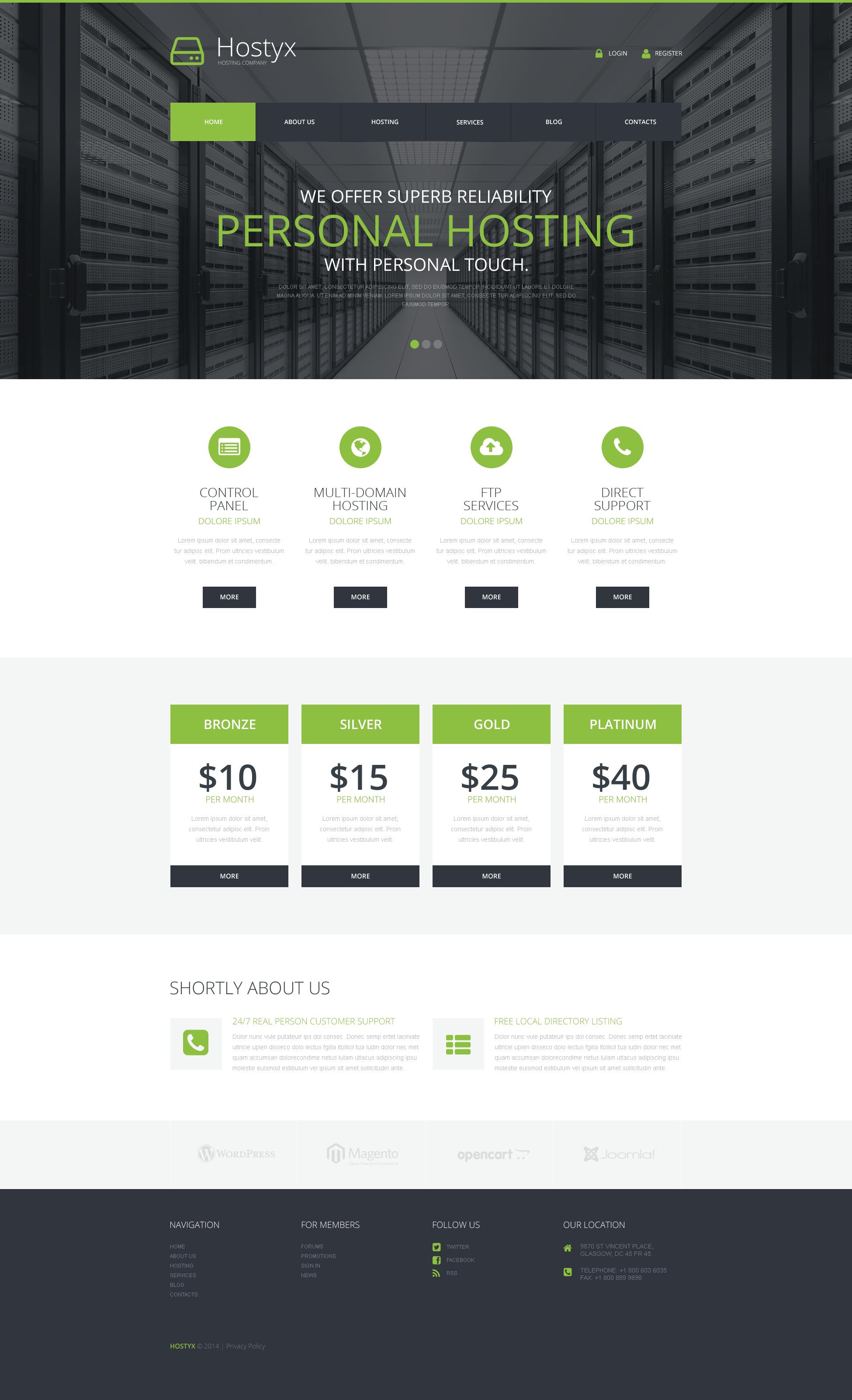 """Reliable Hosting Company"" 响应式WordPress模板 #50793"