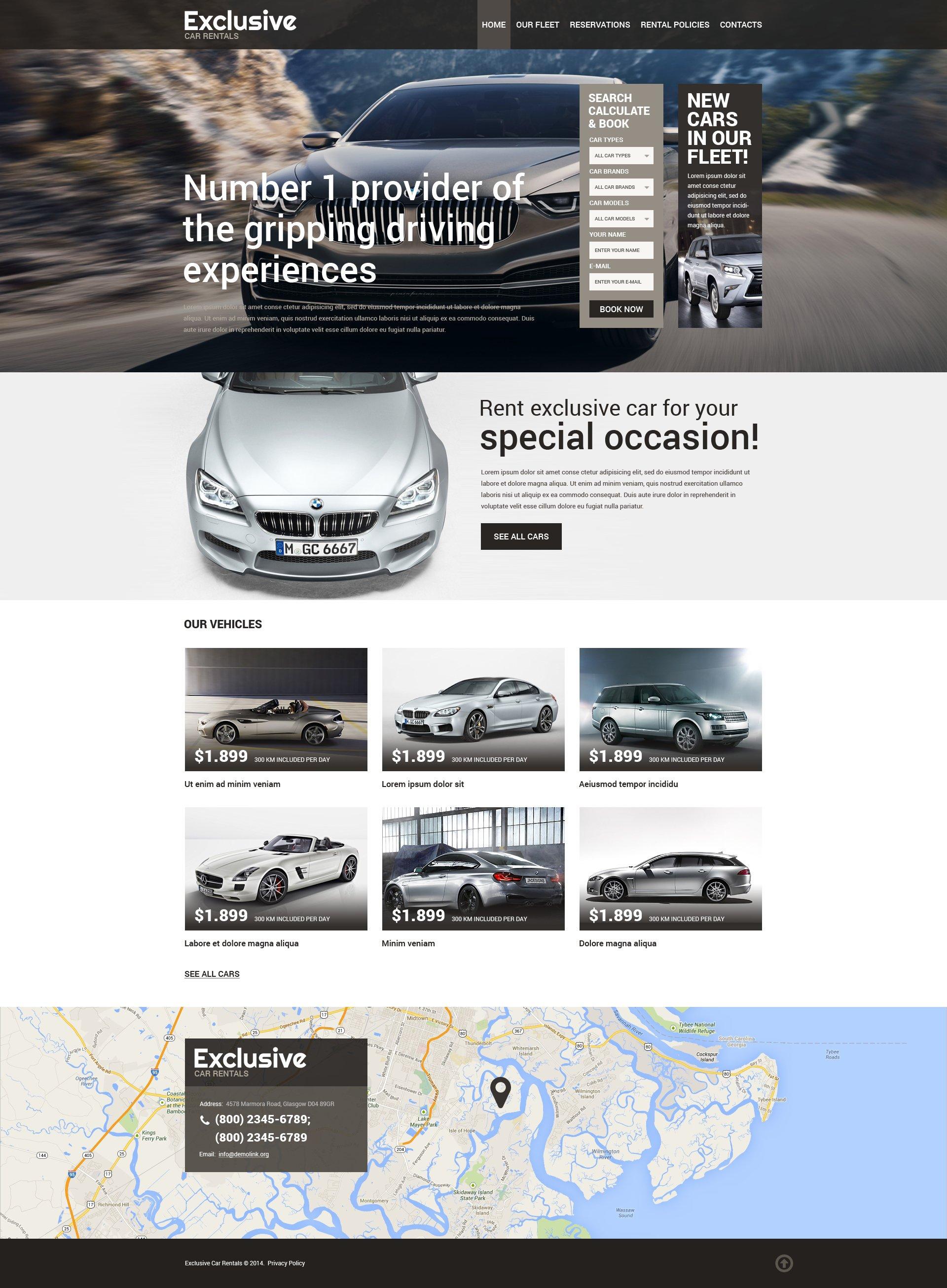 Responsive Website template over Autoverhuur №50771 - screenshot